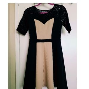 Dresses & Skirts - Black and tan dress with lace.